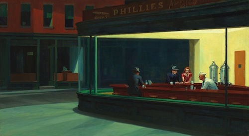 Edward Hopper, Nighthawks, 1942, oil on canvas, 33 1/8 x 60 in. COURTESY THE ART INSTITUTE OF CHICAGO, FRIENDS OF AMERICAN ART COLLECTION 1942.51. © HEIRS OF JOSEPHINE N. HOPPER, LICENSED BY THE WHITNEY MUSEUM OF AMERICAN ART. PHOTOGRAPHY © THE ART INSTITUTE OF CHICAGO.