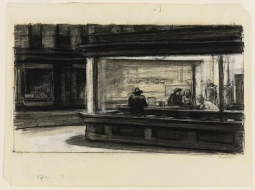 Edward Hopper, Study for Nighthawks, 1941 or 1942, fabricated chalk and charcoal on paper, 11 1/8 x 15 in. COURTESY WHITNEY MUSEUM OF AMERICAN ART, NEW YORK, PURCHASE AND GIFT OF JOSEPHINE N. HOPPER BY EXCHANGE  2011.65.