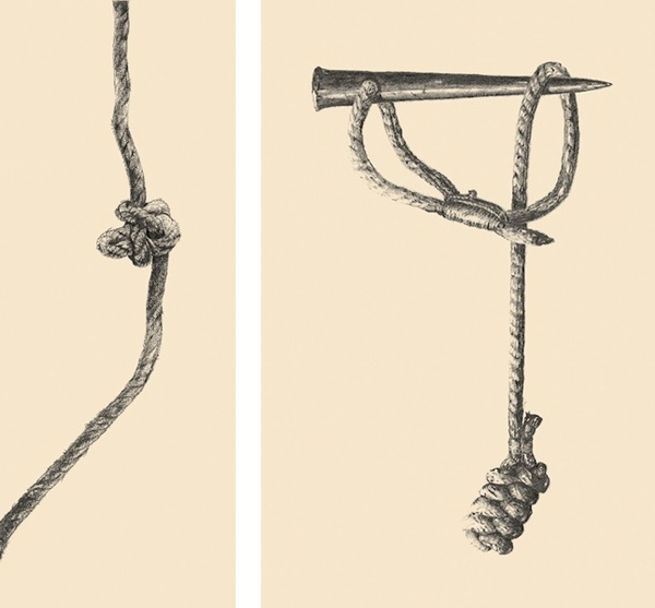 Drawings from Phillipe Petit's book Why Knot?: (Left) Farmer's loop, (Right) Seizing and lashing around a marlinspike.
