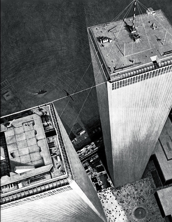 Petit's famous high-wire walk across the World Trade Center in New York on August 7, 1974.