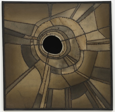 Lee Bontecou, Untitled, 1959, welded steel, canvas, black fabric, soot, and wire. Gift of Mr. and Mrs. Arnold H. Maremont ©2013 Lee Bontecou