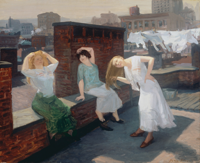 Sunday, Women Drying Their Hair, 1912, by Ashcan School painter John Sloan. ©2013 DELAWARE ART MUSEUM/ARTISTS RIGHTS SOCIETY (ARS), NEW YORK/ADDISON GALLERY OF AMERICAN ART, PHILLIPS ACADEMY, ANDOVER, MASSACHUSETTS, MUSEUM PURCHASE