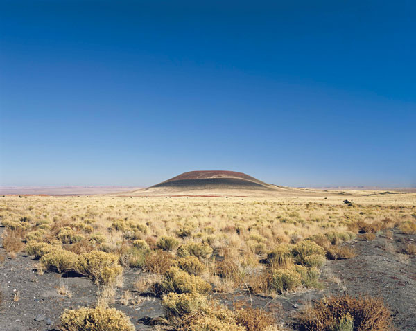 Roden Crater (Blue Sky), 2009, a color-carbon print of the volcano near Flagstaff, Arizona. It is still not open to the public. ©JAMES TURRELL/COURTESY PACE GALLERY