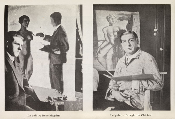 "A page from the January 1929 issue of Variétés magazine, with photographs of René Magritte  posing with La Tentative de l'Impossible (Attempting the Impossible), 1928 (left), and Giorgio de Chirico  in front of an unidentified painting, likely from his ""Gladiators"" series (right). MUSEUM OF MODERN ART LIBRARY, NEW YORK"