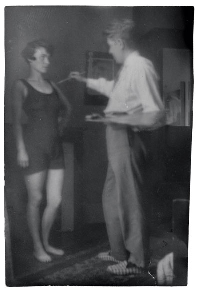 Amour (Love), a 1928 snapshot of Magritte  and his wife, Georgette, re-creating the scene from La Tentative de l'Impossible.  PRIVATE COLLECTION OF ISADORA AND ISY GABRIEL BRACHOT