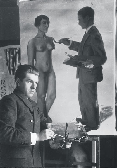 Another photo of Magritte in front of La Tentative de l'Impossible, in which the painting is in a later state. PRIVATE COLLECTION OF ISADORA AND ISY GABRIEL BRACHOT