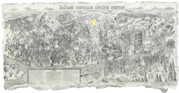 William Powhida and Jade Townsend, Bellum Omnium Contra Omnes, 2012, graphite on paper. COURTESY THE ARTISTS AND FREIGHT + VOLUME.
