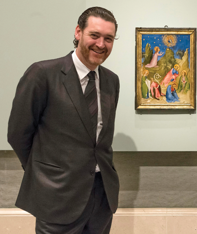 Director of the Prado Museum Miguel Zugaza in front of the restored painting The Agony in the Garden, ca. 1408, attributed to Colart de Laon ©MUSEO NACIONAL DEL PRADO
