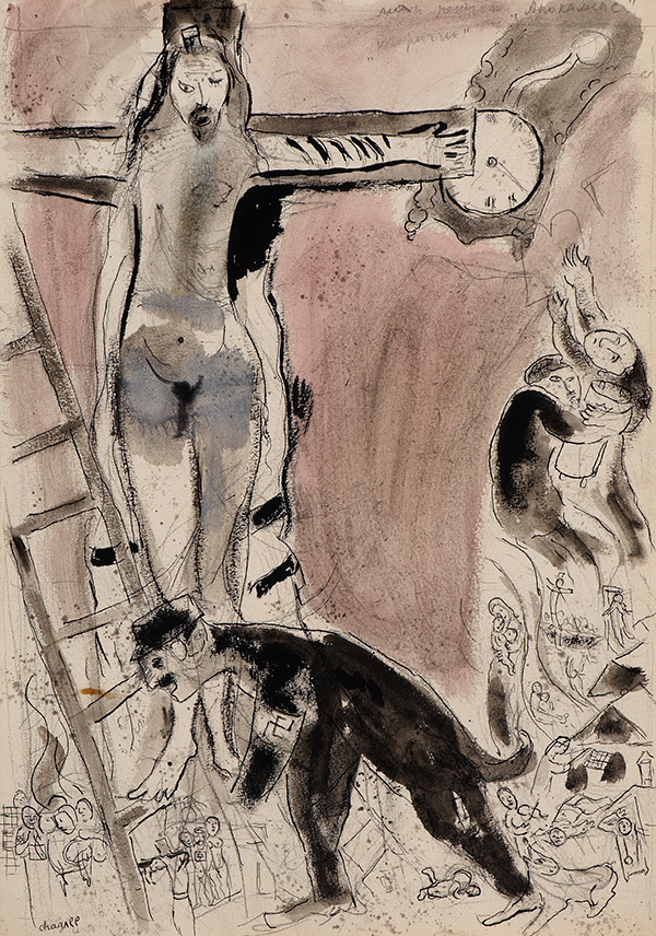 Marc Chagall, Apocalypse en Lilas: Capriccio, 1945/47, gouache, pencil and Indian ink  on paper.  COURTESY BEN URI, THE LONDON JEWISH MUSEUM OF ART.