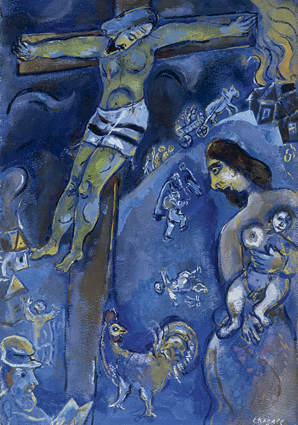 Marc Chagall, Persecution, 1941, pastel, gouache and watercolor on paper. COURTESY COLLECTION HERTA AND PAUL AMIR, BEVERLY HILLS, CALIFORNIA. ©2013 ARTISTS RIGHTS SOCIETY (ARS), NEW YORK / ADAGP, PARIS.
