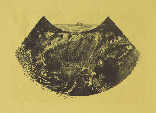 Paul Gauguin, Dramas of the Sea: A Descent into the Maelstrom, 1889, zincograph on yellow wove paper. COURTESY STERLING AND FRANCINE CLARK ART INSTITUTE.