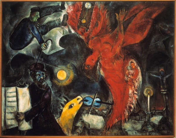 Marc Chagall, The Fall of the Angel, 1932-33-47, oil on canvas. COURTESY PRIVATE COLLECTION, ON DEPOSIT AT THE KUNSTMUSEUM BASEL. ©2013 ARTISTS RIGHTS SOCIETY (ARS), NEW YORK /ADAGP, PARIS.