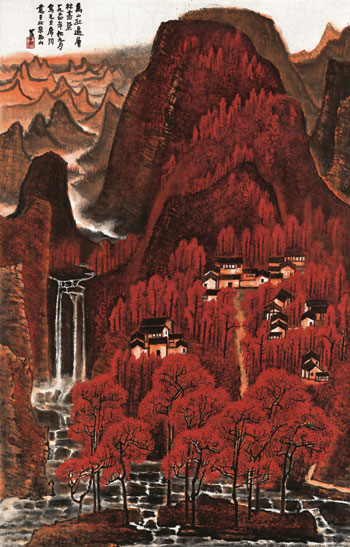 Li Keran's 1964 Mountains in Red went for RMB  293,250,000 ($47,878,341) at Poly's June 3, 2012, sale.©POLY INTERNATIONAL AUCTION CO., LTD