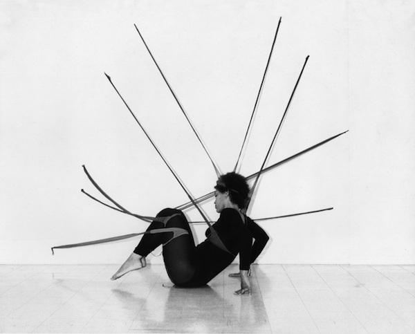 "Senga Nengudi, Performance Piece, 1978, nylon mesh ""RSVP"" sculpture and performance concept. Photograph of performance by Maren Hassinger. PHOTO HARMON OUTLAW/COURTESY THE ARTIST AND THOMAS ERBEN GALLERY, NEW YORK."