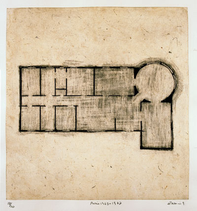 "Paris 1963–1967, etching from the portfolio ""Homes I Made/A Life in Nine Lines,"" 1997. COURTESY THE ARTIST AND LUHRING AUGUSTINE, NEW YORK"