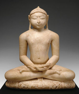 A marble statue of a Jina, an enlightened being in the Jain tradition, dated 1160. VIRGINIA MUSEUM OF FINE ARTS, RICHMOND, THE ADOLPH D. AND WILKINS C. WILLIAMS FUND