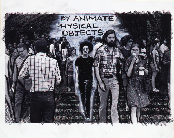 Adrian Piper, I am the Locus (#3), 1975, oil crayon drawing on photograph.  COURTESY SMART MUSEUM OF ART, THE UNIVERSITY OF CHICAGO, PURCHASE, GIFT OF CARL RUNGIUS, BY EXCHANGE, 2001.126a.