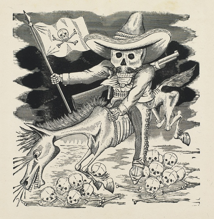 José Guadalupe Posada, La Gran Calavera de  Emiliano Zapata (The Great Skeleton of Emiliano Zapata), from  the portfolio Monografia: Las obras de José Guadalupe Posada,  grabador mexicano, published by Mexican Folkways, Mexico  City, Mexico, ca. 1911–16, printed 1930, photo-relief etching with  engraving. COURTESY THE MUSEUM OF FINE ARTS, HOUSTON/GIFT OF FRANK RIBELIN