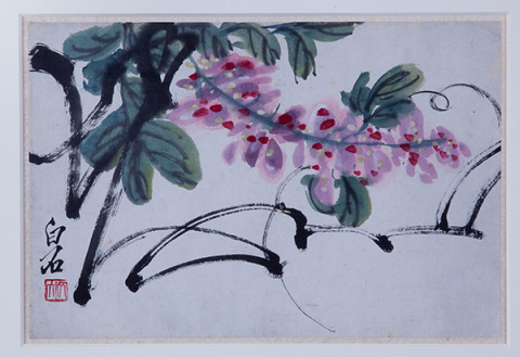 Qi Baishi, Wisteria, c. 1930, album leaf, ink and color on paper. COURTESY THE NOGUCHI MUSEUM, NEW YORK.