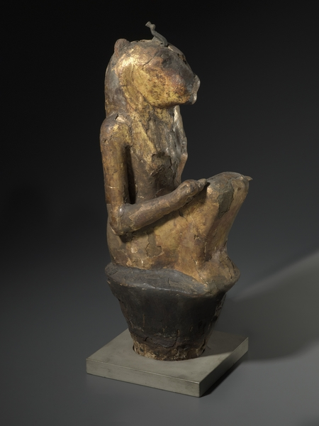 Leonine Goddess, provenance unknown, third Intermediate period to late period, dynasty 22 to dynasty 27, C-14 dated to 770-412 B.C.E. Wood, gilding, plaster, linen, bronze, 42.5 x 13 x 16.5 cm. COURTESY BROOKLYN MUSEUM AND CHARLES EDWIN WILBOUR FUND