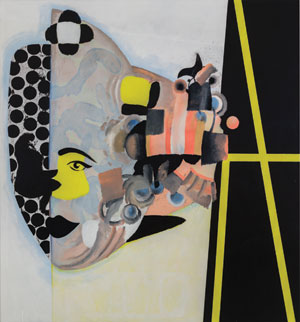 Bits of imagery emerge in some paintings. Here, part of a face appears in Carlotta, 2013. COURTESY THE ARTIST AND PETZEL, NEW YORK