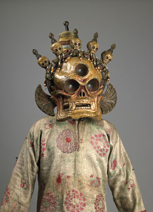 "A Cittipatti skull mask and costume from 19th-century Mongolia, part of ""Remember That You Will Die: Death Across Cultures"" at the Rubin Museum of Art in New York, 2010. MR. IAN TRIAY"