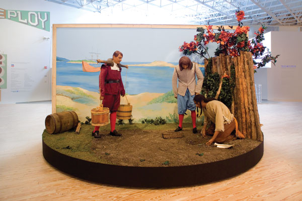 "Sam Durant's motorized diorama Pilgrims and Indians, Planting and Reaping, Learning and Teaching, 2006, in the exhibition ""The Old, Weird America"" at the Contemporary Arts Museum Houston, 2008. ©RICK GARDNER PHOTOGRAPHY/COURTESY THE ARTIST AND BLUM & POE, LOS ANGELES"