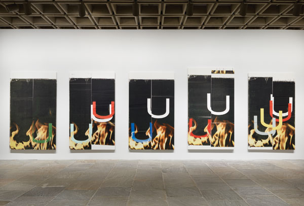 "Five untitled ink-jet works in ""Wade Guyton OS"" at the Whitney Museum in New York, 2012–13. RON AMSTUTZ"