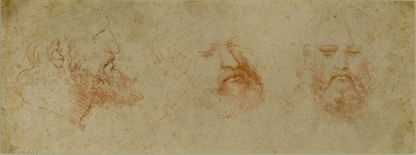 Leonardo da Vinci, Three Views of a Bearded Man, ca. 1502, red chalk on paper. ©BIBLIOTECA REALE, TURIN (15573 D.C.)