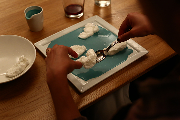 The first dessert is an interpretation of Celestial Perfections. EDIBLE MAGRITTE AT THE MUSEUM OF MODERN ART. PHOTO: PAULA COURT.