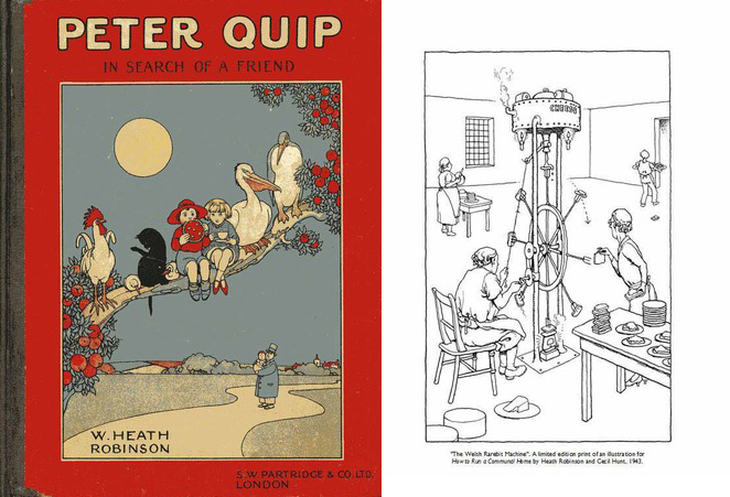 "Limited edition prints and e-books that are being offered as rewards. (left) Peter Quip in Search of a Friend e-book. (right) ""The Welsh Rarebit Machine,"" limited edition print of an illustration for How to Run a Communal Home by Heath Robinson and Cecil Hunt, 1943. COURTESY THE WILLIAM HEATH ROBINSON TRUST."