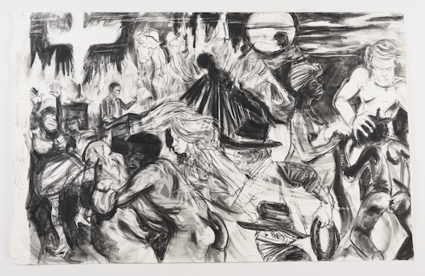 Kara Walker, The moral arc of history ideally bends towards justice but just as soon as not curves back around toward barbarism, sadism, and unrestrained chaos, 2010, graphite and pastel on paper. ©KARA WALKER; COURTESY OF SIKKEMA JENKINS & CO., NEW YORK.