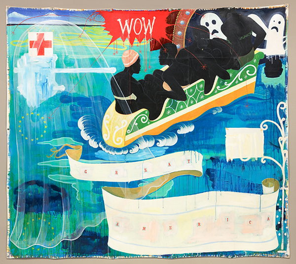 Kerry James Marshall, Great America, 1994, acrylic and collage on canvas. COURTESY NATIONAL GALLERY OF ART, WASHINGTON. GIFT OF THE COLLECTORS COMMITTEE.