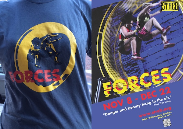 "(left) ""FORCES Tee,"" (right) ""STREB: FORCES Poster"", 2013."
