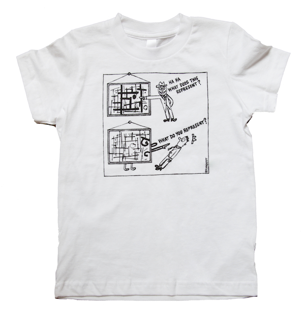 T-shirt featuring Ad Reinhardt art comic.  ©2013 ESTATE OF AD REINHARDT/ARTISTS RIGHTS SOCIETY (ARS),  NEW YORK; COURTESY DAVID ZWIRNER, NEW YORK/LONDON.