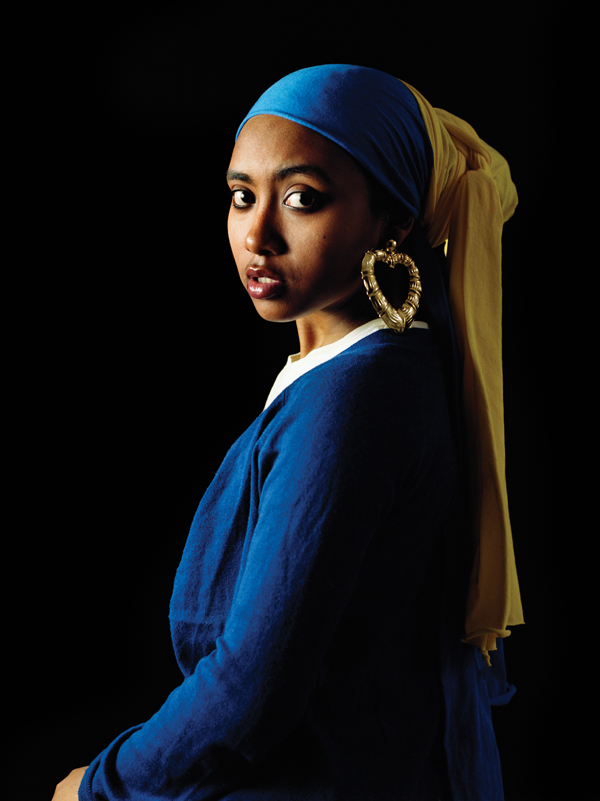 Awol Erizku, Girl with a Bamboo Earring, 2009, digital chromogenic print. COURTESY OF THE ARTIST AND HASTED KRAEUTLER GALLERY, NYC.