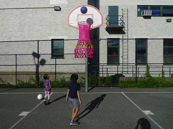 "South End, Boston, Samantha Fields, ""Big Pink"" hand-made basketball net, 2013. COURTESY THE ARTIST AND NEW CRAFT ARTISTS IN ACTION."