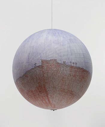 Russell Crotty, Watch the Dolphins Play, 2007, ballpoint pen and watercolor on paper on a fiberglass sphere.COURTESY THE ARTIST AND CRG GALLERY, NEW YORK