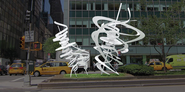 Renderings of one of Alice Aycock's painted-aluminum sculptures for the Park Avenue median in New York, Spin-the-Spin, 2013. COURTESY THE ARTIST, PAPC AND GALERIE THOMAS SCHULTE, BERLIN