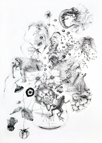 Joo Lee Kang, Bouquet of Nature #5, 2012, ballpoint pen on paper. COURTESY THE ARTIST AND GALLERY NAGA, BOSTON