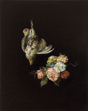 Emma Bennett, A Weightless Quiet, 2013. Bennett isolates details from 17th-century Dutch and Italian still lifes, suspending them against a black background. COURTESY CHARLIE SMITH LONDON
