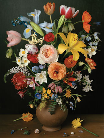 "For her series ""1606–1907,"" Sharon Core grows heirloom flowers and photographs them in careful arrangements, re-creating still-life paintings from a variety of eras. 1606, 2011, calls to mind Dutch masters. ©SHARON CORE/COURTESY THE ARTIST AND YANCEY RICHARDSON, NEW YORK"