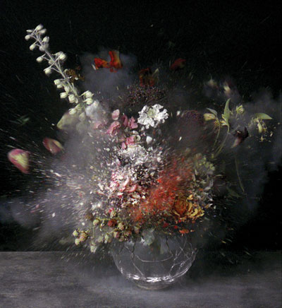Ori Gersht emphasizes the destruction at the heart of the still life genre in exploding still lifes such as Time After Time: Untitled 8, 2007. COURTESY THE ARTIST AND CRG GALLERY, NEW YORK