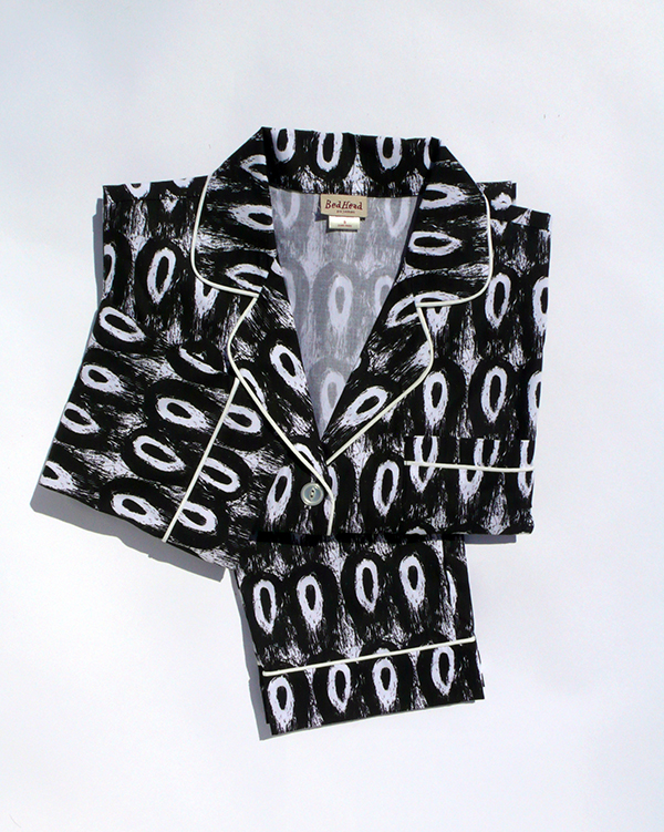 Pajamas designed by Joyce Pensato, conceived by SMMoA retail curator Amy Coane and produced by BedHead Pajamas, $138. COURTESY THE SANTA MONICA MUSEUM OF ART.