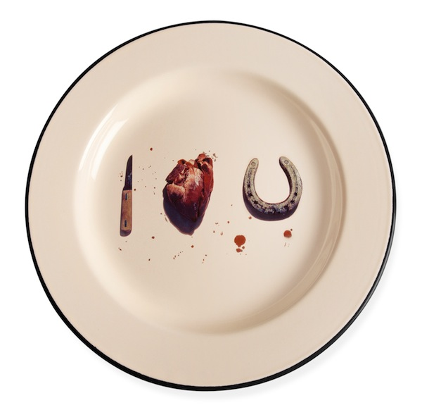 Maurizio Cattelan and Pierpaolo Ferrari, I Love You Plate, 2013, enameled metal. COURTESY THE MUSEUM OF MODERN ART.