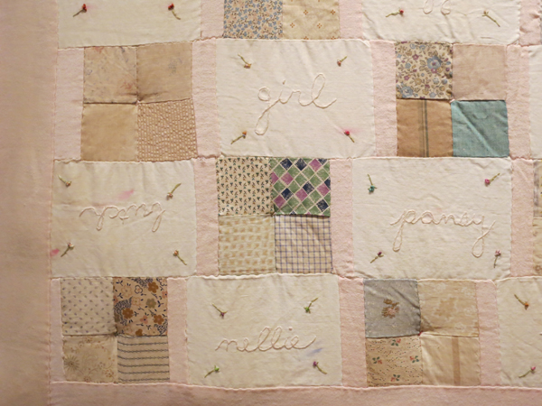 Melanie Braverman, Queer (Detail), 1999-2000, antique fabric quilt patches, cotton thread, and silk ribbon. COLLECTION OF HUNTER O'HANIAN AND JEFFRY GEORGE.