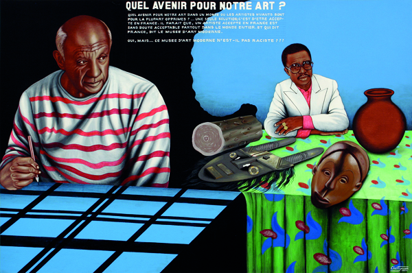 Cheri Samba, Quel avenir pour notre art?, 1997, acrylic and glitter on canvas. CAAC – THE PIGOZZI COLLECTION, GENEVA © CHÉRI SAMBA. COURTESY OF CAAC – THE PIGOZZI COLLECTION, GENEVA.