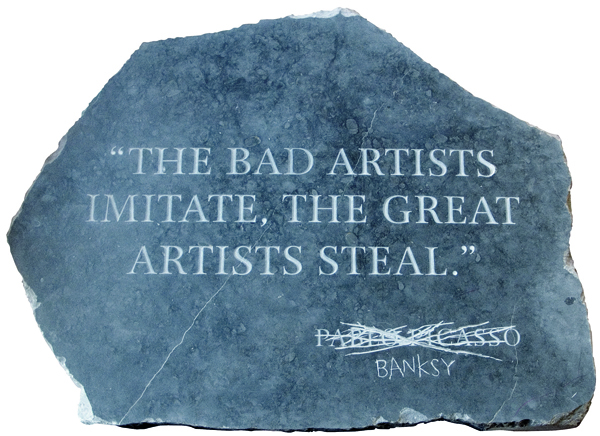 Banksy, Picasso Quote, 2009, carved marble and reinforced wood.  COURTESY PREST CONTROL OFFICE.