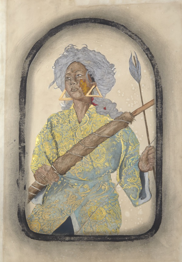 Frohawk Two Feathers, Halima, 2013, acrylic, ink, and coffee and tea on paper. COURTESY MORGAN LEHMAN GALLERY.