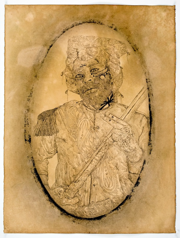 Frohawk Two Feathers, Punjab Pete, 2014, acrylic, ink, and coffee and tea on paper. COURTESY MORGAN LEHMAN GALLERY.